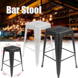 Industrial Style Metal Height Bar Stool Stackable Backless Kitchen Bistro Chairs