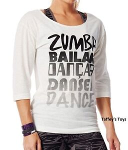 Zumba - Dance 3/4 Long Sleeve Tee - White - size XS & Small ~ New!