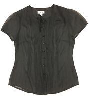 Ann Taylor LOFT Women's 8 Sheer Black Short Sleeve Pleated Button Front Blouse