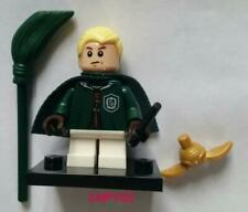 Lego Mini Figure Draco Malfoy Wand Broom Quidditch Golden Snitch Harry Potter
