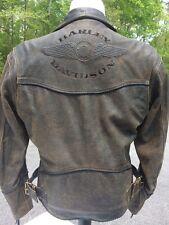 Harley Davidson Billings Brown Leather Jacket Men's Medium Distressed