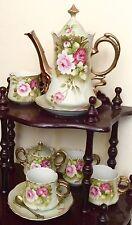 "Lefton ""Heritage Rose"" Green 6 pc. Coffee Tea Pot Set Pitcher Sugar Creamer Cup"