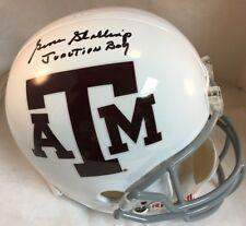 """Gene Stallings Signed Texas A&M White Full Size Helmet w """"Junction Boy"""" PROOF"""