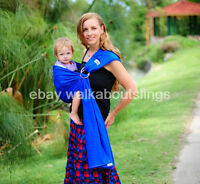 Walkabout Baby Ring Sling Carrier Pouch Cotton Newborn To Toddler Royal Blue NEW