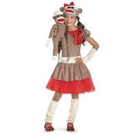 Girls Cute Brown Sock Monkey Halloween Costume Dress Gloves Hat Child S M L