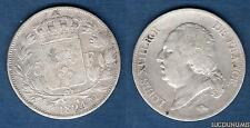 Louis XVIII 1815 - 1824 , 5 Francs Buste nu 1824 MA Marseille TB