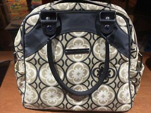 Petunia Pickle Bottom Boxy Diaper Bag Backpack Laminated Gray Embroidered
