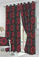 "Eyelet headed black & red fully lined curtains 90x90"" drop - half panama weave"