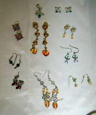 Vintage DARO 14K ITALY Amber Glass Stone EARRINGS & LOT 8 Artisan Type Earrings!