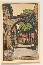 26556 Steindruck Künstler Stein Zeichnung AK Stralsund Hof Johannis Kloster 1910