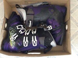 Black Diamond Custom 130 Telemark Boots, Sz 26.0 75mm Purple Haze Triax Frame