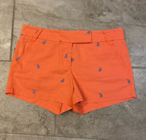 NWT $35 JCrew Factory chino shorts, sailboats embroidery, size 6, Women's