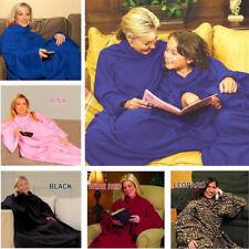 Wearable Fleece Blanket Soft TV Blanket Robe Cloak w/ Sleeves Pocket Winter Warm