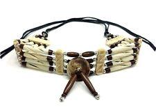 Handmade Native American Style Tribal Buffalo Bone Hairpipe Choker Necklace