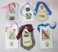 6 Birds & Eggs Nests Bookmarks Gift Tags Silk Ribbon Mixed Lot A2