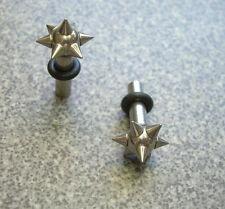 1 Pair 8g 3mm Plugs Gauges Steel Ear Plug Tunnel Punk Spiked Ends ML8 Sgl Flare