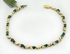 Genuine 3.08 Cts Emeralds & Diamonds 10k Yellow Gold Bracelet