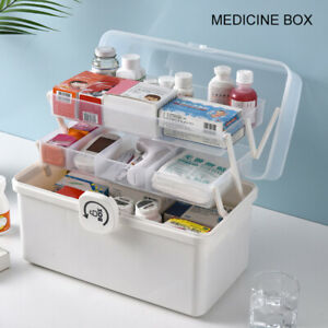 3 Layer Portable First Aid Kit Storage Box Plastic Emergency Kit Box For Family