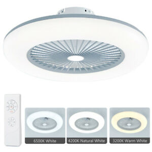 Modern LED Remote Control Dimmable Light Ceiling Fixtures Fan Lamp Clear Blade