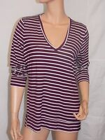 Victoria's Secret Pink NWT V-Neck Striped Super Soft BLACK ORCHID Tee MEDIUM