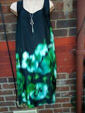 LADIES EVANS TOP PLUS SIZE 22  Black & green floral sleeveless Long tunic