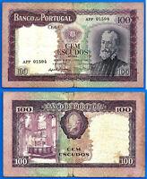 Portugal 100 Escudos 1961 Serie 6 A Prefix APP Pedro Nunes FREE Ship World