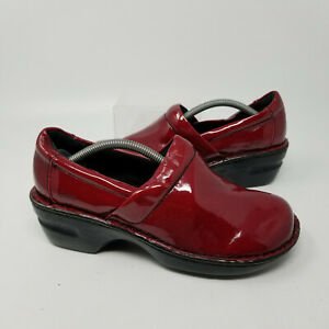 B.O.C. Red Patent Leather Slip On Low Walking Shoes Mule Clog Women Size 7.5
