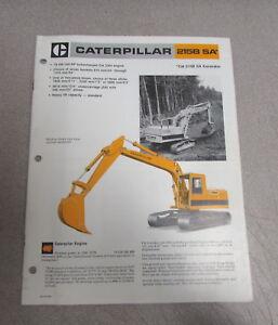 Cat Caterpillar 215B SA* SA Excavator Specifications Brochure Manual 1984
