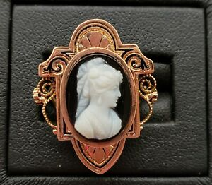 *VICTORIAN*BICOLOR ONYX* MOURNING CAMEO*RING* 10K YELLOW GOLD * SZ 4.5*