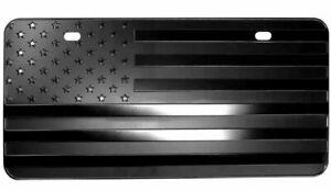 "USA BLACKOUT American Flag Metal Embossed License Plate (12""x6"", Black)"