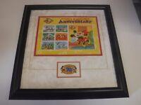 Mickey Minnie Mouse 70th Anniversary Walt Disney Stamp Framed Display jh