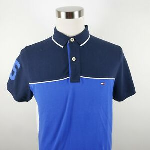 Tommy Hilfiger Mens Cotton SS Two Tone Blue Color Block Rugby Polo Shirt XL