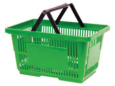 Count of 2 New Retails Green Jumbo Shopping Basket with Plastic Handles