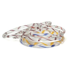 Lot (6) antique Czech spiral multicolor lampwork glass bangles earring hoops