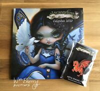 JASMINE BECKET GRIFFITH Baby Red Dragon Pin + 2020 Big Eye Art Calendar