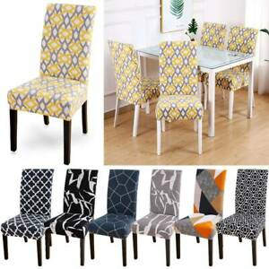 4PCS Geometric Print Stretch Dining Chair Covers Seat Slipcovers Party Decor blo
