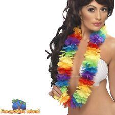 Bright Large Rainbow Lei Hawaii Luau Mens Womens Fancy Dress Accessory
