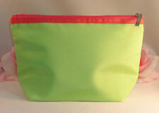 New Clinique Makeup Cosmetic Bag Case Purse Neon Green / Pink Trim Travel Home