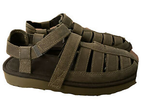 UGG Men's Leather Dune Fisherman Strap Sandals Moss Green Size 8 1099754/ New