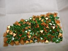36 preciosa square rhinestones, 8x8mm peridot / gold foiled