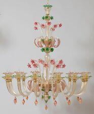 Lampadario in Vetro di Murano - 1614/12 Cristallo Verde Rosa Oro Mont. Oro 24K