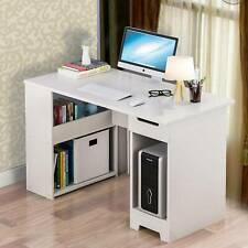 Supports Up to 68 kg Modern Simple Study Wooden Desk with Metal Frame for Home Office Computer Desk QooWare 110 Writing Desk with 2 Storage Shelves on Left or Right for Laptops