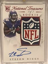Stefon Diggs 2015 National Treasures 1/1 NFL Shield Rookie Patch AUTO RC JSY