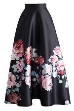 Noir Fleuri taille haute Jupe longue Club Wear Fashion Fête Taille S M L