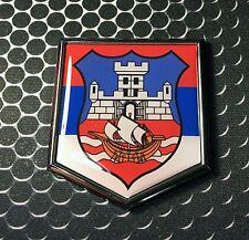 """Beograd Grb Domed CHROME Emblem Proud Srbija Flag Car 3D Sticker 2""""x 2.25"""""""