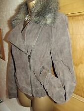 FABULOUS ❤️ JANE NORMAN Suede Effect / Faux Fur Flying Jacket Size 10 - 12