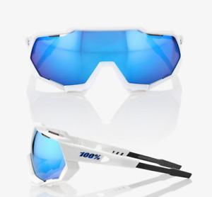 100% Percent Cycling Sunglasses Speedtrap Matte White HiPER Blue Lens