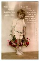 Antique RPPC real photograph postcard card Birthday Wishes portrait girl