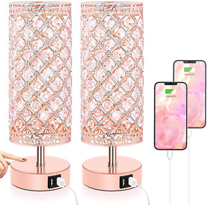 Touch Control Crystal Table Lamp Set Of 2 Bedside Nightstand Rose Gold NEW