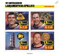 NASA APOLLO 13 50th Anniversary Astronaut Space Stamp Sheet (2020 Sao Tome)